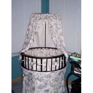 Badger Basket Elegance Round Baby Bassinet, Black with