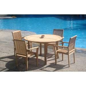 Set  52 Round Table And 4 Stacking Arm Chairs[ Model LUb] Patio