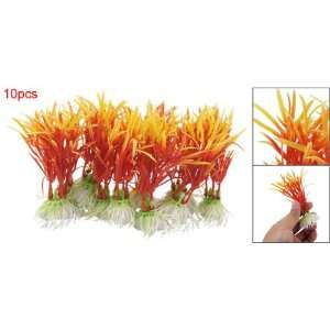 Como 10pcs Plastic Ornament Orange Plants for Fish Tank: Pet Supplies