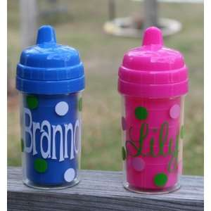 Personalized Polka Dot Sippy Cup ~ Tall Baby