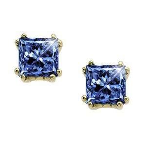 Twin Prong Princess Cut 14K White Gold Stud Earrings with Blue Diamond