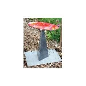E V Pyramid Birdbath Red Glass Bowl Patio, Lawn & Garden