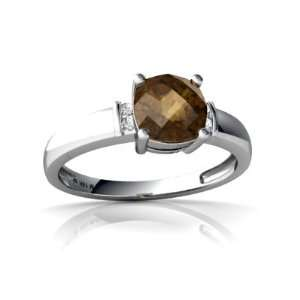 14K White Gold Cushion Genuine Smoky Quartz Ring Size 4 Jewelry