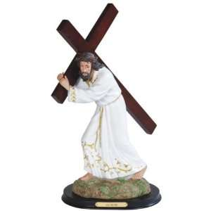White Jesus Carrying Brown Cross Religious Figurine: Home & Kitchen