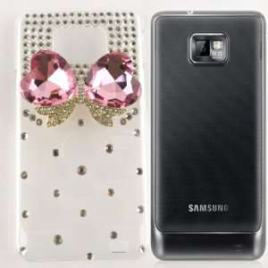 Rhinestone Crystal Bow Heart Snap On Hard Case Cellphone Cover Cell