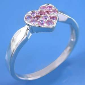 925 Sterling Silver Heart Valentine Gift Synthetic Pink Gemstone Ring
