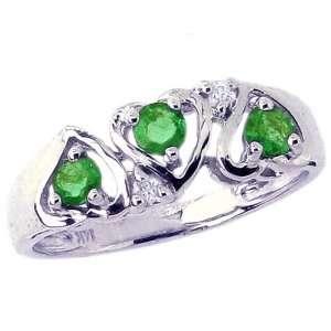 Gold Openwork Heart Trio Gemstone and Diamond Ring Emerald, size8.5