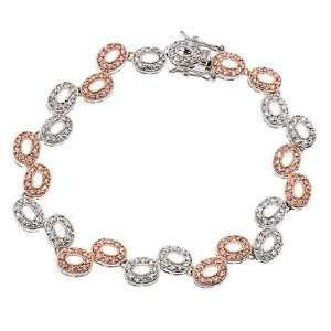 Rose Gold Plated Oval Link Bubble Sterling Silver Bracelet Jewelry