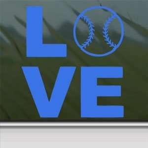 LOVE BASEBALL SOFTBALL Blue Decal Truck Window Blue
