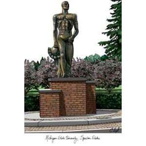 State University Spartan Statue Lithograph