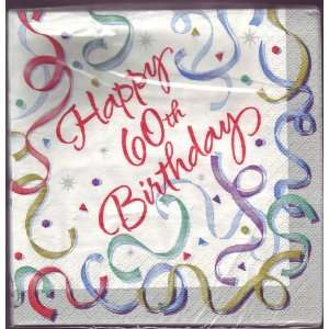 Happy 60th Birthday Napkins   Shiny Streamers: Health & Personal Care