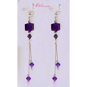 Swarovski Crystal Sterling Silver Charming Dangling Earings Jewelry