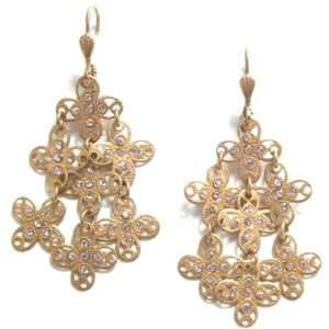 Swarovski Crystal Tiered Filigree Cross Dangle Earrings Jewelry