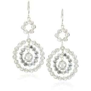 Kole Classic Sterling Silver and Swarovski Crystal 3 Hoop Earrings