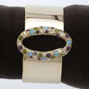 And Gold Napkin Rings Multi Color Swarovski Crystals Oval Ring