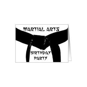 Birthday Party Invitation Martial Arts Black Belt Card: Toys & Games