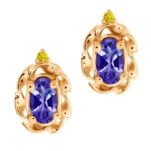 Oval Blue Tanzanite and Canary Diamond 14k Rose Gold Earrings Jewelry