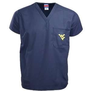 West Virginia Mountaineers Navy Scrub Top (X Large) Sports & Outdoors