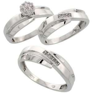 10k White Gold Diamond Trio Engagement Wedding Ring Set for Him and