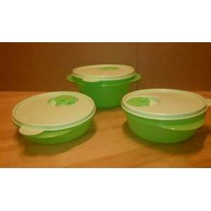Tupperware Crystal Wave 3 Piece Small Bowl Set Lime Green