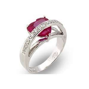 Sterling Silver Ruby Heart CZ Ring   Size 7