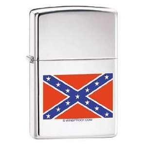 Confederate Rebel Flag Zippo Lighter, High Polish Chrome
