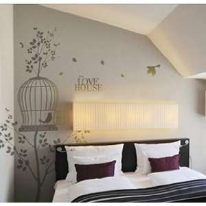 Wall Sticker Decal  Love House with Bird Cage(grey) Toys & Games