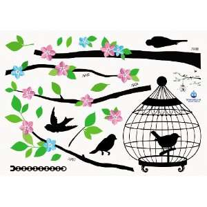Home Decor Mural Art Wall Paper Stickers   bird cage KRS 0105