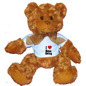 I Love/Heart Water Skiing Plush Teddy Bear with BLUE T