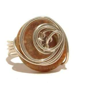06 Size 6.5 Autumn Button Wire Wrap Crystal Healing Stone Jewelry