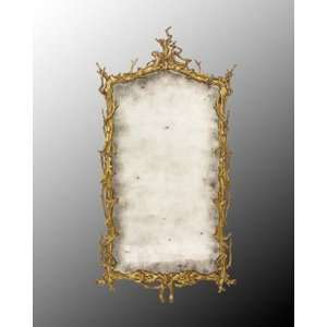 Antiqued Mirror In Hand Carved Hand Finished Wood Frame
