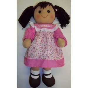 Rag Doll 16 Tall   Dark Brunette Hair   Pink Dress