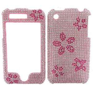 SIlVER & PINK FLOWERS DIVA CRYSTALS snap on cover faceplate for Apple