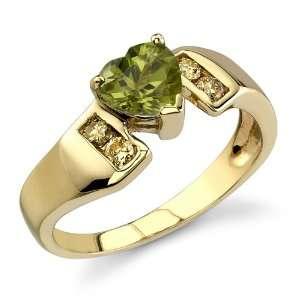Enchanted Delight 0.87 cts Heart Shape Peridot Diamond