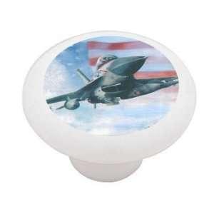 American Fighter Jet Decorative High Gloss Ceramic Drawer Knob