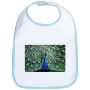 Baby Bib Sky Blue Peacock with Beautiful Plumage (Feathers