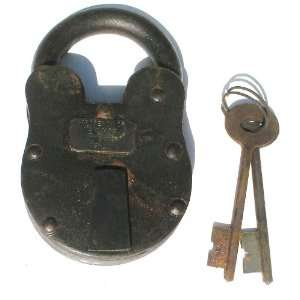 Large Cast Iron New York Insane Asylum Padlock With Keys