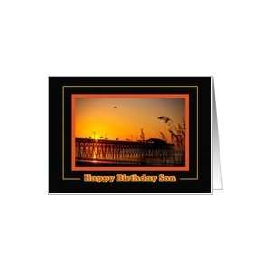 : Happy Birthday Son, Garden City Pier at Sunrise Card: Toys & Games