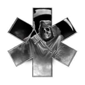 Grim Reaper Star of Life EMT EMS Gray 4 Reflective Decal Automotive