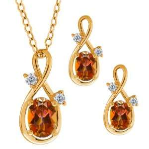 13 Ct Oval Ecstasy Mystic Topaz Gold Plated Silver Pendant Earrings