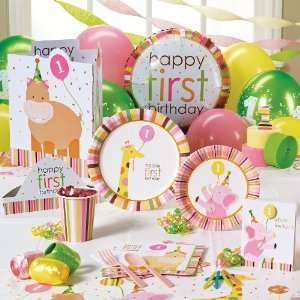 Sweet Safari Pink 1st Birthday Classic Party Pack for 16
