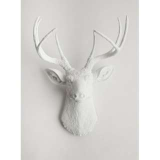 Deer Head  White Deer Head Wall Decor  Stag Head Wall Mount  Faux