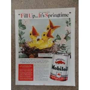 com Gargoyle Mobiloil,Vintage 40s full page print ad (3 yellow birds