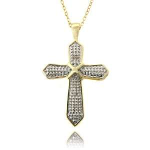 14k Gold Overlay Diamond Accent Cross Necklace Jewelry