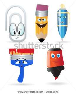 Writing Instruments And Office Supply. Cartoon Character Stock Vector