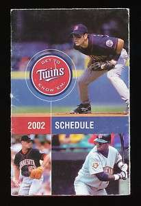 2002 Pocket Schedule MINNESOTA TWINS Doug Meintkiewicz Joe Mays Guzman