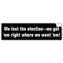 We lost the election. We got em    Customized bumper stickers by