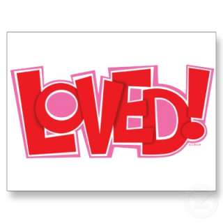 new fun design using the word LOVED! Brightly colored with pink