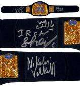Iron Sheik & Nikolai Volkoff Signed Replica Tag Team Championship Belt