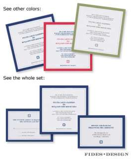 traditional, square, wedding invitations, classic, red, navy, green